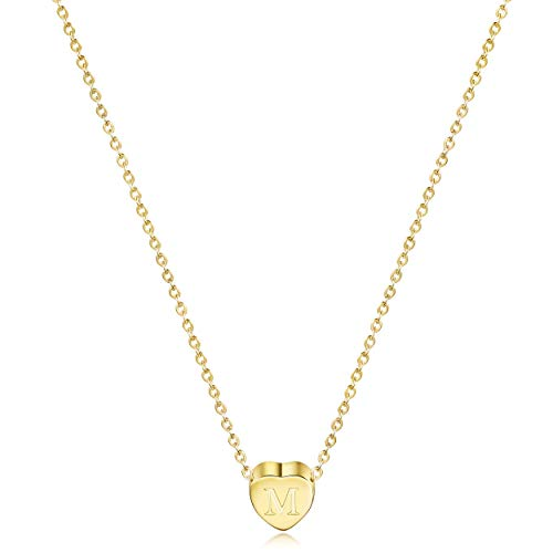 58685e641 JINBAOYING Gold Initial Heart Necklace-14K Gold Plated Stainless Steel  Heart Letter Necklace, Dainty Personalized Letter Heart with Adjustable  Chain Pendant ...