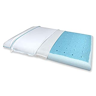 Bluewave Bedding Ultra Slim CarbonBlue Max Cool Gel Memory Foam Pillow for Stomach and Back Sleepers - Thin and Flat for Spinal Alignment and Enhanced Sleeping (Full Pillow Shape, Standard Size)