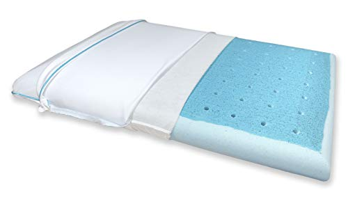 Bluewave Bedding Ultra Slim Max Cool Gel Memory Foam Pillow with CarbonBlue for Stomach and Back Sleepers, Thin and Flat for Spinal Alignment, Better Breathing and Enhanced Sleeping (Full Pillow)
