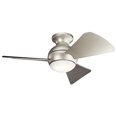 """Kichler 330150 34"""" Indoor / Outdoor Ceiling Fan with Blades, Light Kit and Wall,"""