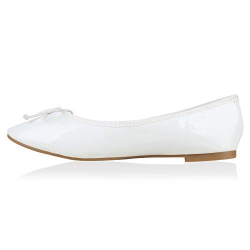 Stiefelparadies Klassische Damen Ballerinas Leder-Optik Flats Glitzer Ballerina Schuhe Schleifen Lack Slipper Übergrößen Gr. 36-44 Flandell Weiß