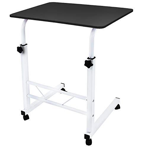 DL furniture - Adjustable Height Laptop Desktop Table Stand, Over Bed Side Table With Wheels | Metal Frame & Natural Surface (Black) (Portable Desktop Computer Table)