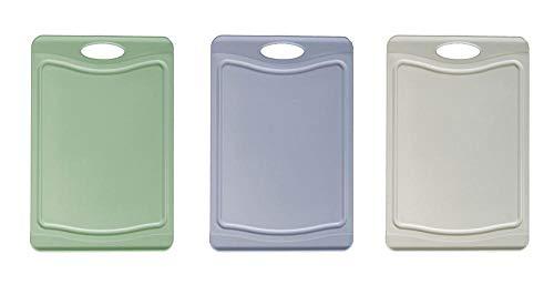 Steuber Set van 3 snijplanken met sapgoot, 3 kleuren, 25 x 14 cm, aan beide zijden bruikbaar, mesvriendelijk, anti-slip…
