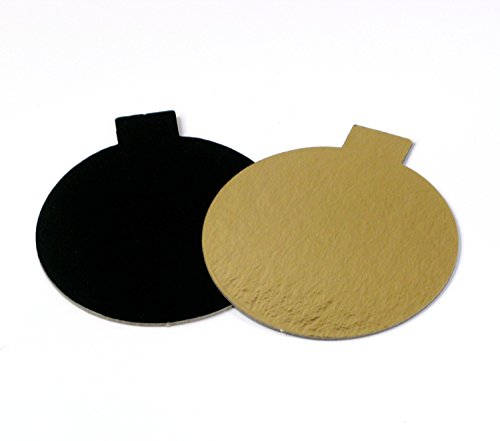 Mini Single Portion Round Gold/Black Cake Board with tabs 3 1/8