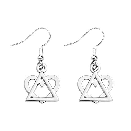 FUSTMW Adoption Gift Adoption Symbol Earrings Heart and Triangle Pendant Stepdaughter Adoption Jewelry Gift for Stepmom (Silver) ()