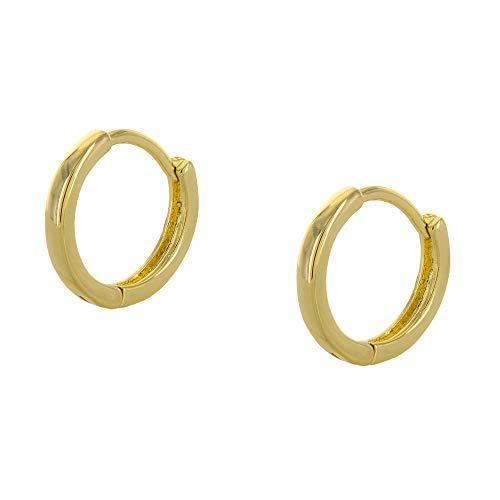 - Columbus 14K Gold or Rhodium Plated Huggie Hoop Earrings - Small Sleeper Hoops - Tiny Hug Earrings (Gold 12mm)