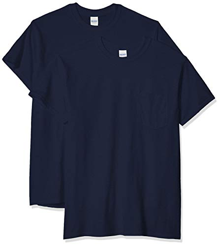 - Gildan Men's Ultra Cotton Adult T-Shirt with Pocket, 2-Pack, Navy, Small