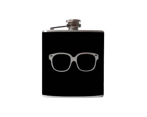 Hipster Glasses Flask- 6, 8 Ounce - Custom, Personalized- Many Colors (6 Ounce, Black-Matte)