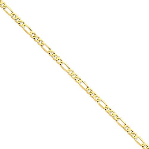 13 mm 14 carats plat Figaro Bracelet Chaîne - 9 cm-JewelryWeb