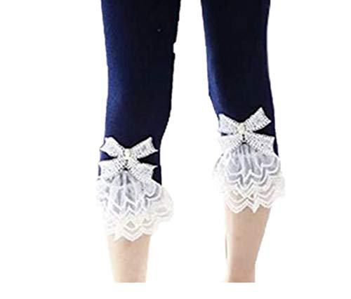 Rhinestone Flare Jean - Toddler and Girl Lace Ruffle Capri and Full Length Leggings. (Capril Navy, 3T)