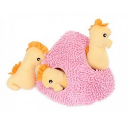 ZippyPaws Burrow Seahorse \'n Coral - Squeaky Plush Hide and Seek Dog Toy