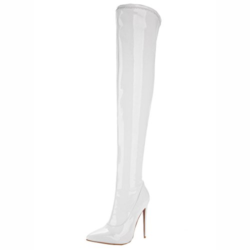 White Over Zip with Women's Heels Leather High Stiletto Patent High Boots Knee Artfaerie The 5OwP7B7q