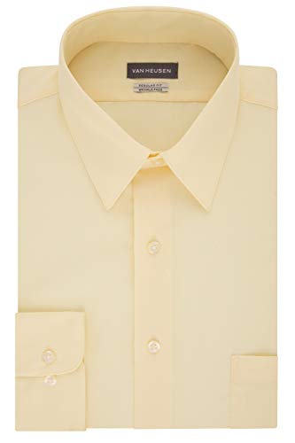 Van Heusen Men's Dress Shirt Regular Fit Poplin Solid, Lemon Glaze, 17
