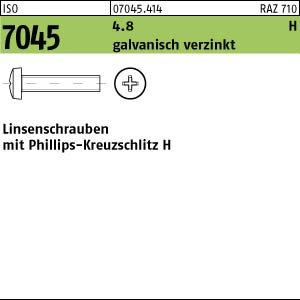 H verzinkt M2x4 Linsenkopfschrauben ISO 7045 4.8 200 Krz