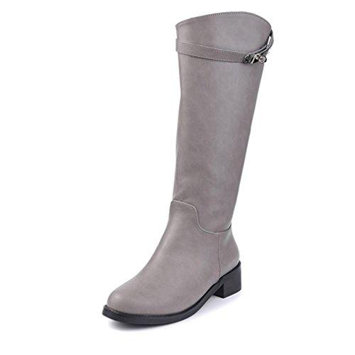 Btrada Dames Over De Knie Dij Hoge Laarzen Brede Kuit Blok Hak Riem Gesp Zwarte Combat Rijlaarzen Gery