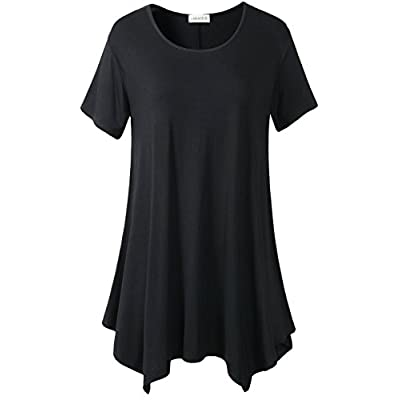 LARACE Womens Swing Tunic Tops Loose Fit Comfy Flattering T Shirt: Clothing