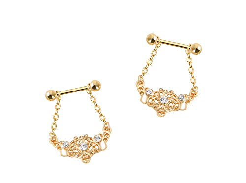 HuayoRong Gold Nipple Rings Stainless Steel Chain Dangle 14G Barbell Nipplerings Body Piercing Jewelry 2Pcs