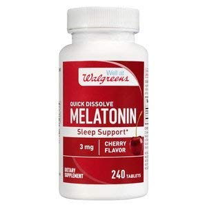 (Walgreens Melatonin Sleep Support 3mg, Quick Dissolve Tablets, Cherry, 240 ea)