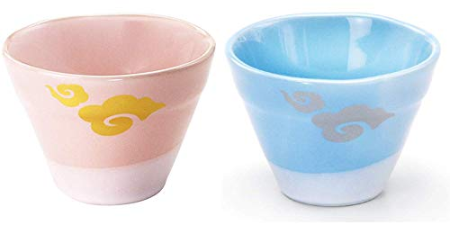 Kanese Japanese Porcelain Mino-yaki Mount Fuji-Shaped Cup - Set of 2 Cups Pink and Blue - Japan Import FG-31 FG-32