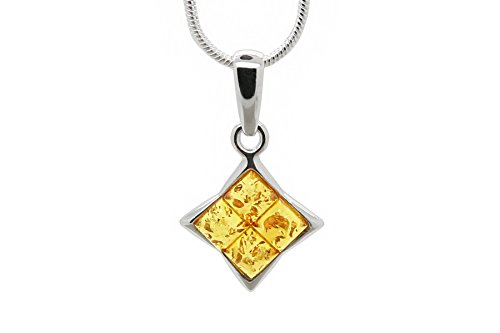 925 Sterling Silver Square Pendant Necklace with Genuine Natural Baltic Honey Amber. Chain ()