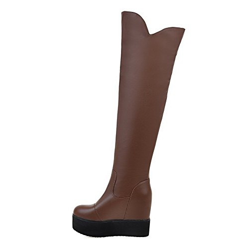 AllhqFashion Womens High Top Pull On Soft Leather High Heels Round Closed Toe Boots, Brown, 43