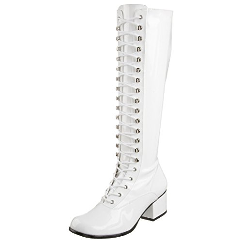 Summitfashions Womens Glossy White Patent Lace Up Knee High Boots with 2 Inch Block Heels Size: 11
