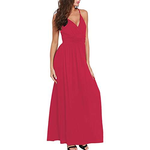 Yahuyaka D'été L Pour Col En Red Soirée Size Femmes À Sans Banquet Longue Robe Sexy Manches De V color Blue rEfqr4wU