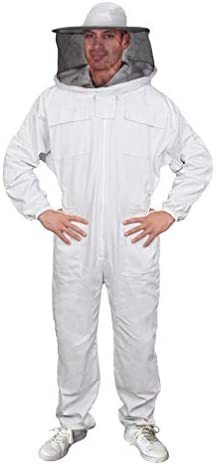 Luwint 大人用フルボディ 養蜂スーツ – ラウンドフェンシングベールフード コットン 通気性 蜂 養蜂 男女兼用 US サイズ: XX-Large カラー: ホワイト