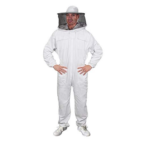 Luwint Adult Full Body Beekeeping Suits - Round Fencing Veil Hood Cotton Ventilated Bee Beekeeper Suit for Men Women (XL)