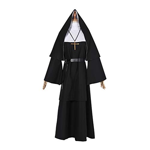NSPSTT Women's Nun Dress Halloween Party Cosplay Costume Set -