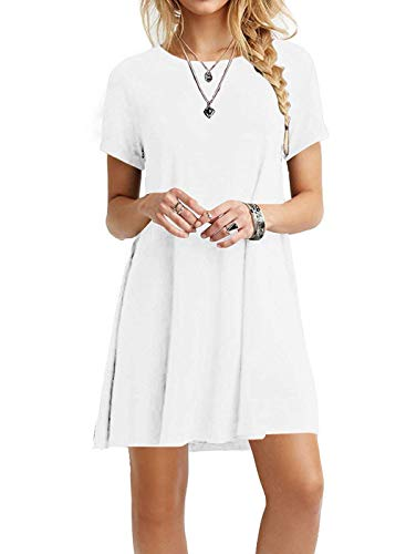 MOLERANI Women's Casual Plain Simple T-Shirt Loose Dress (L, White)