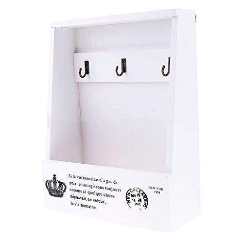 Creative Wooden Wall Mounted Key Box, Sundries Retro Hook Hanger Storage Wooden Wall Rack Holder Home Decor - Home Office Furniture Floating Shelves Cabinet Storage Container (White)