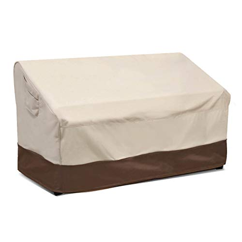 Vailge 2-Seater Heavy Duty Patio Deep Bench Loveseat Cover,100% Waterproof Outdoor Deep Sofa Cover, Lawn Patio Furniture Covers with Air Vent, Medium (Deep), Beige & Brown