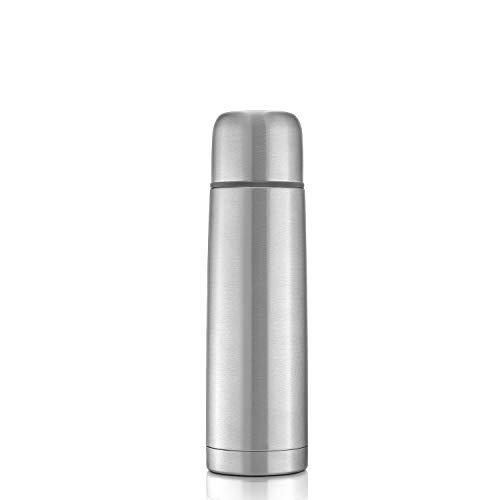 reer Roestvrijstalen thermosfles PURE, 500 ml – klein, handig, ideaal voor de baby, met geïntegreerde beker, zilver