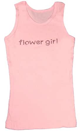 Rhinestone Flower Girl Tank Top in White, Pink or Black with Pink Crystals (12/14, Pink)