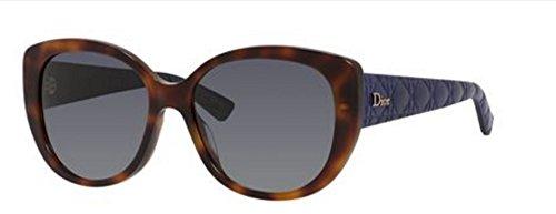 (New Christian Dior Lady 1/R/S GRS/HD Havana Blue Sunglasses)