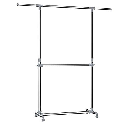SONGMICS Double Rod Clothes Rack for Hanging Clothes Garment Clothing Rack with Wheels Height Adjuatable - Garment Double Rack