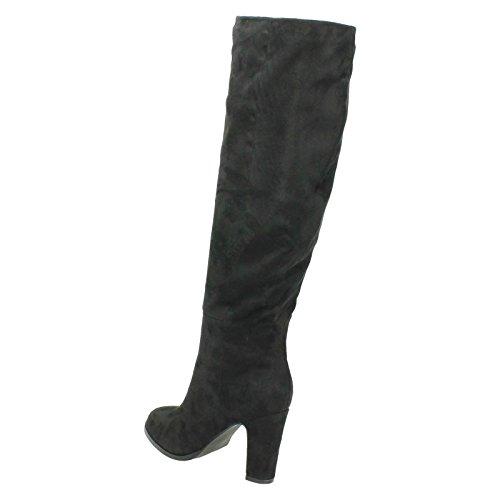 Women's Spot-On Suzie Knee High Heel Boots F50554 Black (Microfiber) x6rtqEu