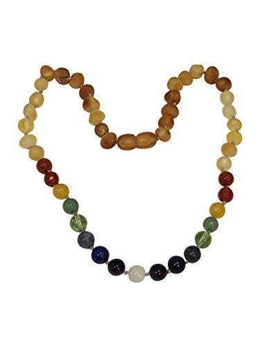 Raw Baltic Amber + Gemstone Rainbow Necklace by UMAI – Pain Relief from Teething – Unisex– Safely Knotted Beads – Anti-Inflammatory