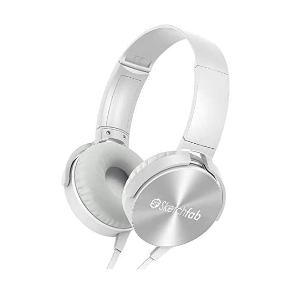 Sketchfab Extra bass Headphones Over The Ear Headset with Deep bass (White)