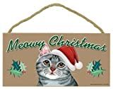 """MEOWY CHRISTMAS"" WOODEN SIGN - GRAY TABBY CAT"