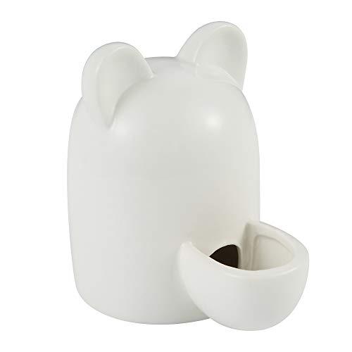 (SLSON Ceramic Water Feeder Drinking Bottle, Automatic Waterer Bottle Cute Bowl for Guinea Pig Hamster Hedgehog Chinchilla Bird, 8.45 Oz)
