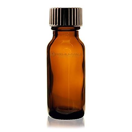 ed874a42e92e 1/2 Oz (15 ml) AMBER Boston Round Glass Bottle w/Cap - Pack of 12