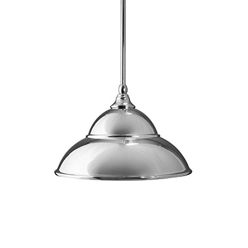 Toltec Lighting 23-CH-428 Stem Mini Pendant with Hang Straight Swivel with 13″ Chrome Double Bubble Metal Shade, Chrome Finish