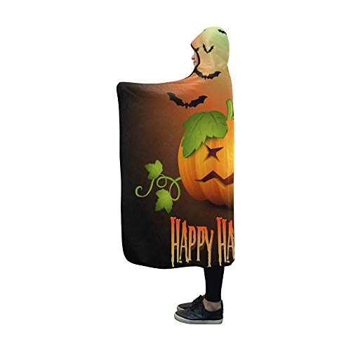 YUMOING Hooded Blanket Halloween Banner Party Invitation Holiday Card Blanket 60x50 Inch Comfotable Hooded Throw Wrap ()