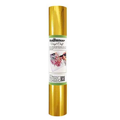 TECKWRAP Chrome Gold Adhesive Craft Vinyl Roll 1ftx5ft