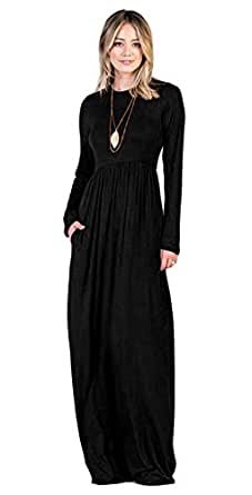 Tabeez Women's Casual Long Babydoll Jersey Maxi Dress with Long Sleeves (Small, Black- No Pockets)