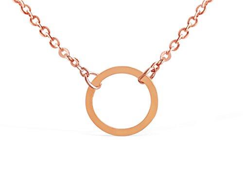 a1cbd3c8ced36d Galleon - Rosa Vila Karma Circle Necklace - Simple Minimalist Round Karma  Circle Pendant Necklaces For Women (Rose Gold Tone)