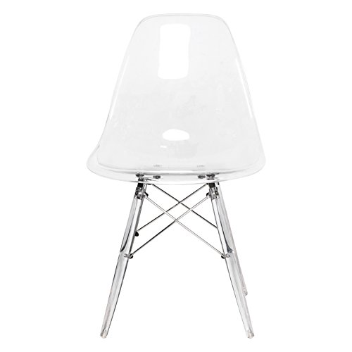 LeisureMod Calbert Molded Plastic Dining Chair with Acrylic Eiffel Base (Clear) by LeisureMod (Image #1)
