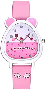 Boys Girls Cute Cartoon Animal Watch Faux Leather Band Quartz Wristwatch for Children Kids Gift Durable and Us